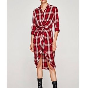 Zara Tartan Red Plaid Knot Dress XS